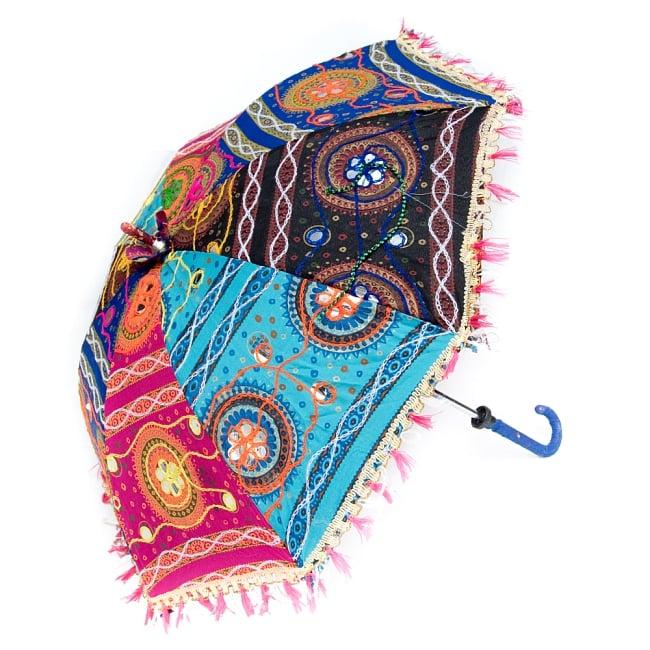 〔アソート〕インド・ラジャスタンの刺繍傘・日傘 - 直径60cm程度 4 - 横からの写真です