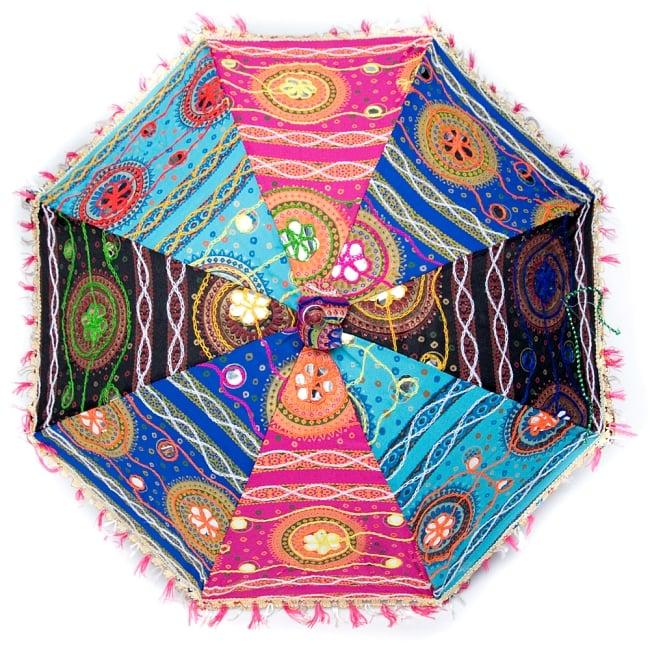 〔アソート〕インド・ラジャスタンの刺繍傘・日傘 - 直径60cm程度 6 - 全体写真です