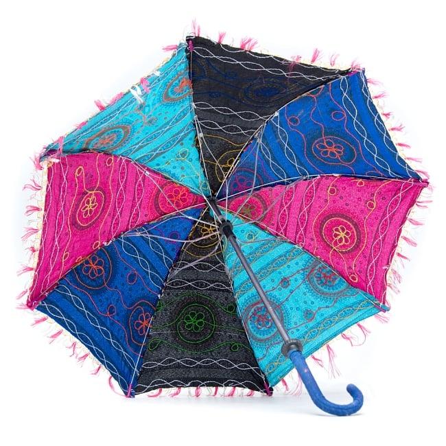 〔アソート〕インド・ラジャスタンの刺繍傘・日傘 - 直径60cm程度 8 - 裏面の写真です
