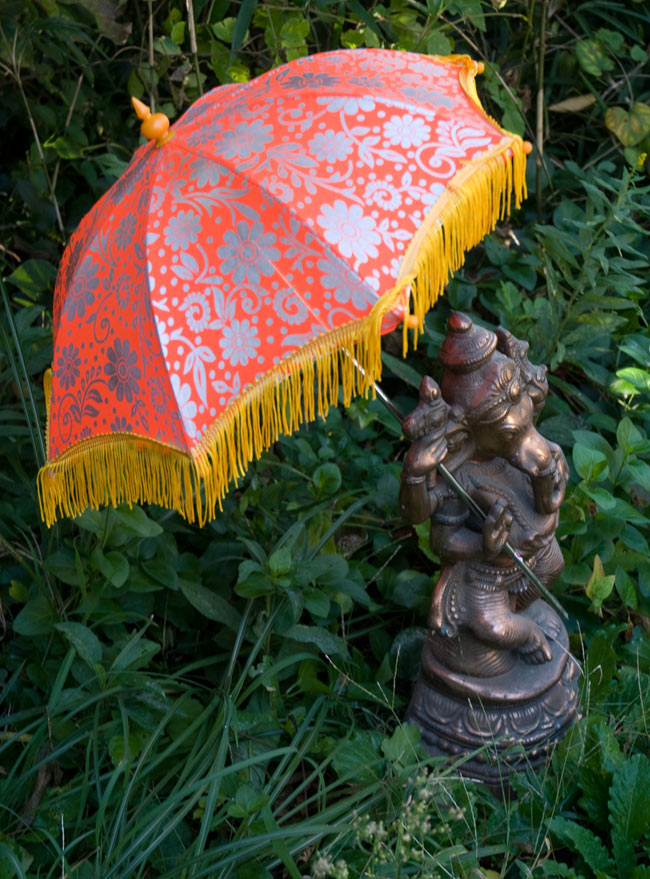 デコレーション用傘 - シルバー・オレンジの写真
