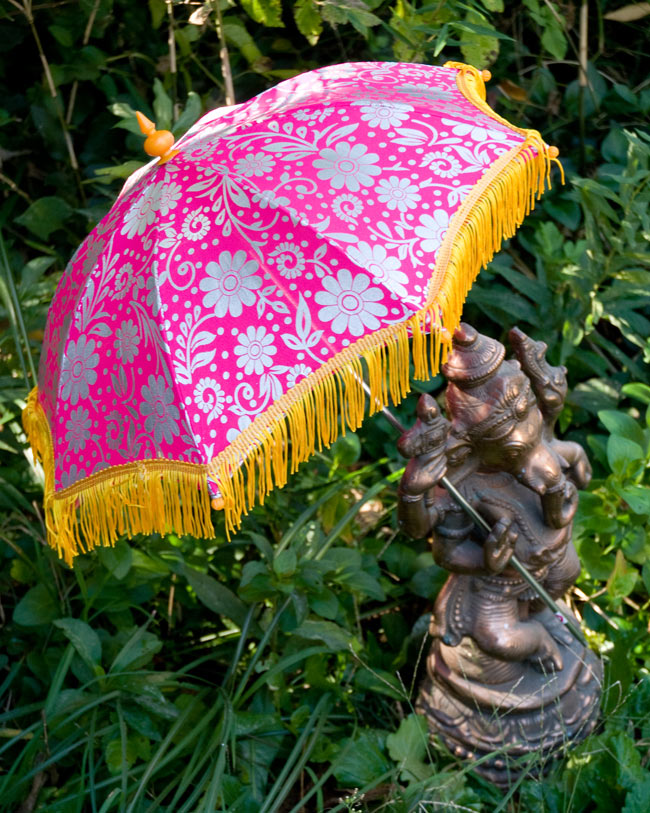 デコレーション用傘 - シルバー・紫の写真