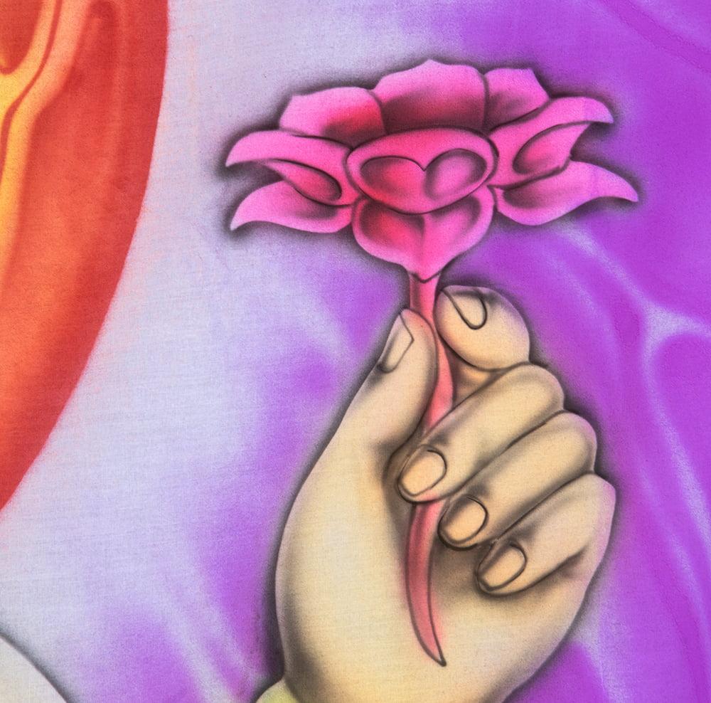 ガネーシャの最高級ブラシペイントバティック【240cm x 140cm】 6 - 蓮の花の部分です