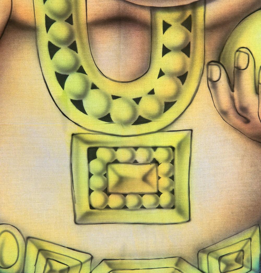 ガネーシャの最高級ブラシペイントバティック【240cm x 140cm】 8 - 胸のあたりの拡大です