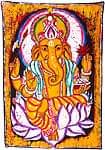 インドとアジアの布のセール品:[サマーセール第二弾!]バティック神様布(ガネーシャ緑)