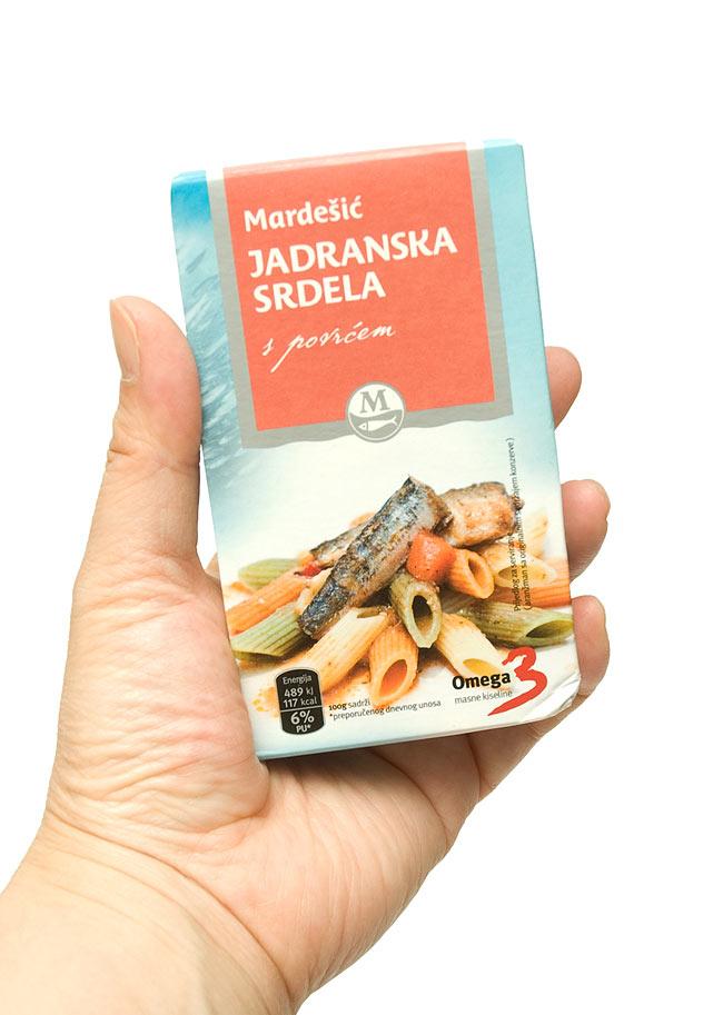 サーディン缶 トマトソース入 - Sardines in Tomato Sauce 【Adriatic】の写真3 - 手に持ってみました。いわしさんが約2〜3匹入っています。