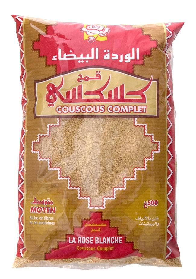 クスクス 全粒粉 中粒 - COUS COUS Wholeweat Middle Grain 500g 【Rose Blanche】 2 - 中東チックなパッケージでエキゾチックな雰囲気のクスクスデス。