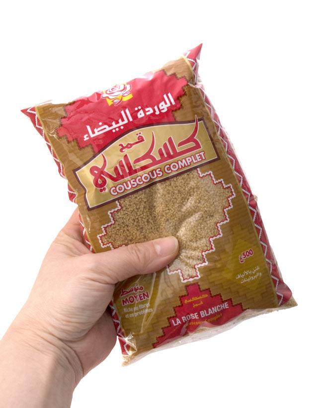 クスクス 全粒粉 中粒 - COUS COUS Wholeweat Middle Grain 500g 【Rose Blanche】 4 - 一人前約100gとして、約4〜5人分のクスクスを作ることが出来ます。