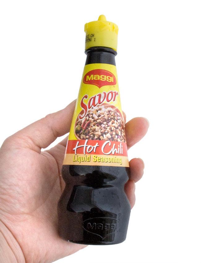 シーズニング ソース ホット チリ - Loquid seasoning Hot Chili 【Savor】 3 - 食卓に置いてもいいサイズです。是非、使ってみてください。