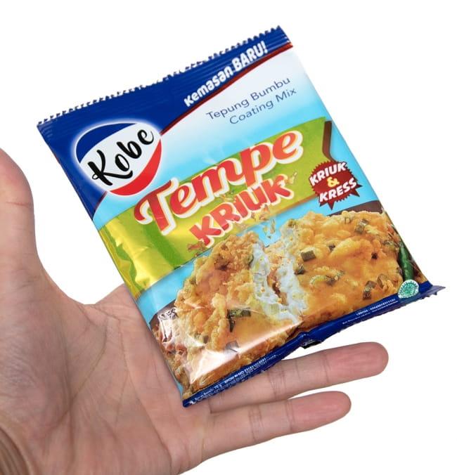 インドネシア風 テンペの唐揚げ粉 【KOBE】 3 - 手に持ってみました。インドネシアのサラダ、ガドガドと一緒がおすすめです。ぜひ、お試しください。