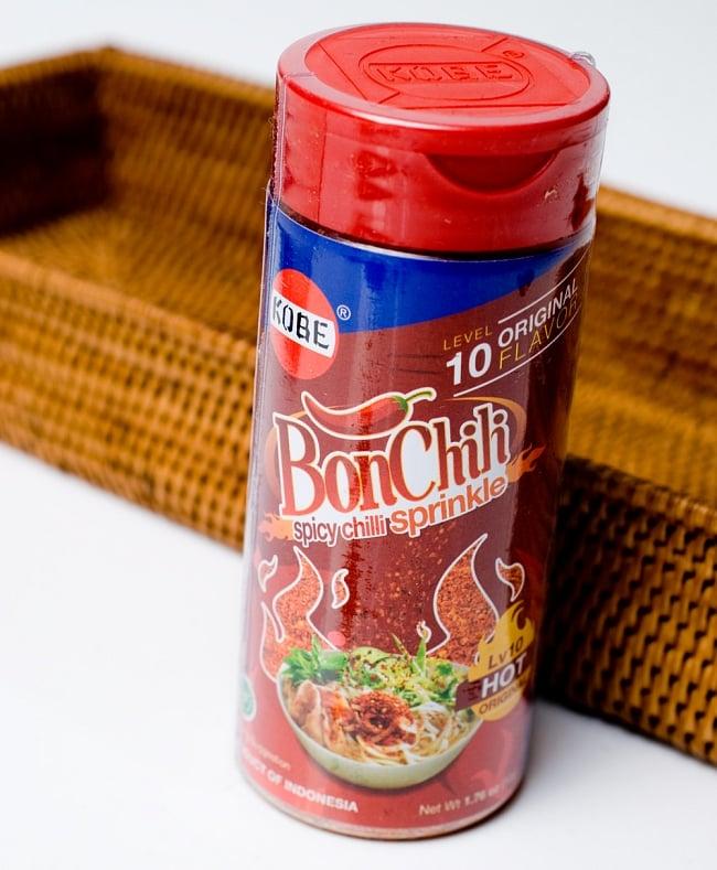 インドネシア チリフレーク-レベル10 - ボンチリ  レベル10 うま辛 赤ボトル 【KOBE】の写真