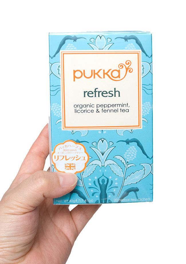 【オーガニック】 -mint refresh- -ペパーミント,リコリス&フェンネル-【PUKKA】 4 - 別のデザインのものを手に持ってみました。あなたの美容・健康ライフに是非、お役立て下さい。