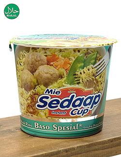 インスタント カップ ヌードル スペシャル ビーフ ミートボール入り - Baso Spesial Cup  【Mie Sedaap】 (FD-LOJ-406)