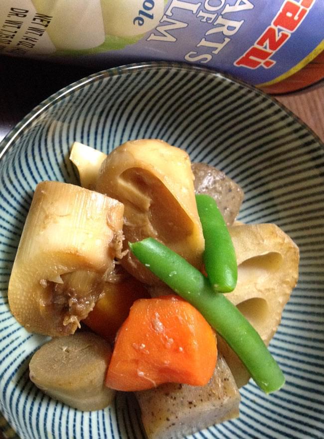 椰子の芽 - パルミット Hearts of Palm 【Irazu】 6 - 普通に和食にも。タケノコの様な存在ですね。ローカロリーでヘルシーな食材です。
