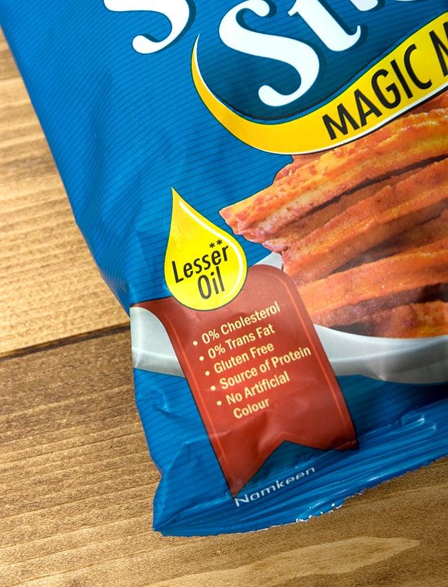 マサラ ソイ スティック タンギー トマト味 - Soya Sticks Tangy Tomato 180g 【Jobsons】 3 - レスオイル、コレストロールなし、トランス脂肪酸ナシ、グルテンフリー、着色料不使用などなど配慮してますがしっかり書かれています。