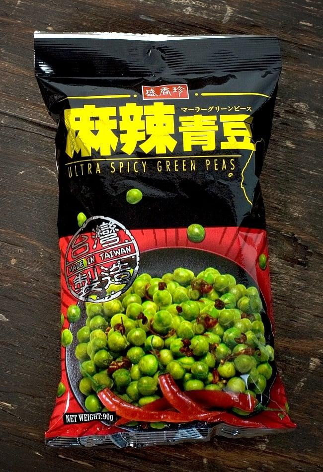 台湾スナック ウルトラ スパイシー・グリーンピース 麻辣醤 100g 【盛香珍】の写真