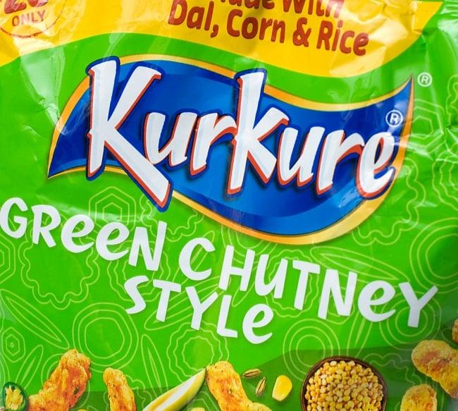 インドのスナック KurKure【Green Chutney Style味】 3 - ラベルの拡大です