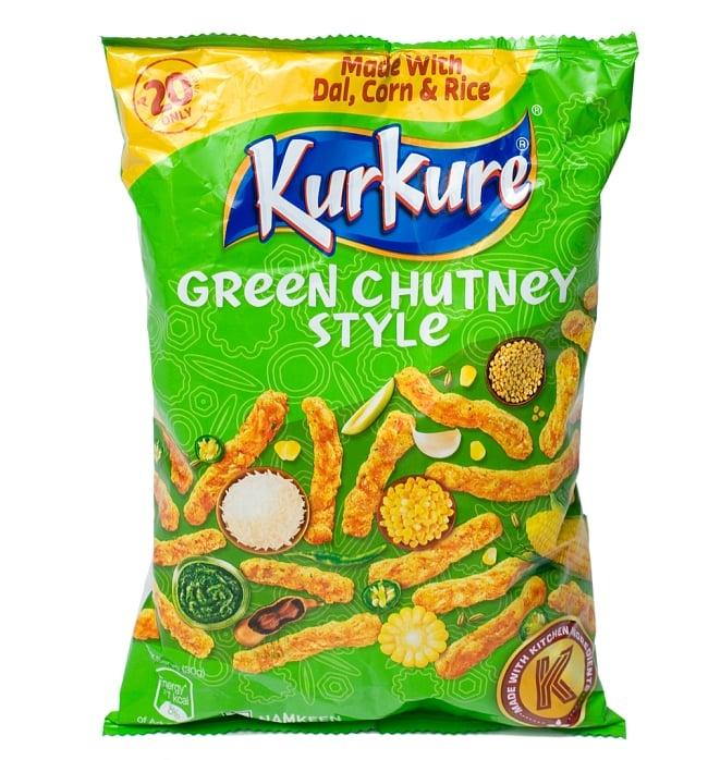 インドのスナック KurKure【Green Chutney Style味】の写真