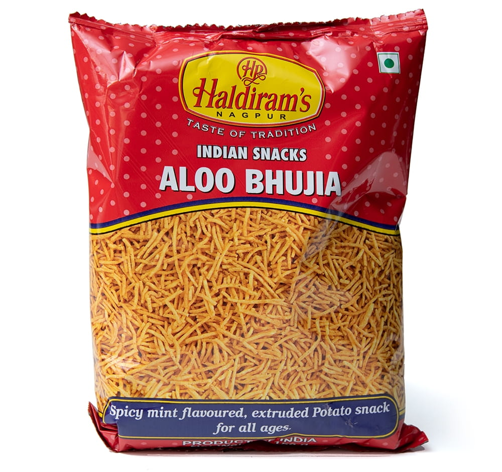 インドのお菓子 スパイシーポテトスナック アルーブジア - ALOO BHUJIA 3 - 白背景で撮影しました