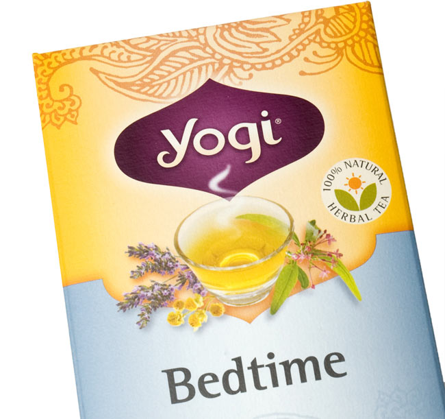 ベッドタイム【Yogi tea ヨギティー】 - パッケージのアップ。目でも癒されます。ヨギティによっては、オーガニックの原材料を使用しています。