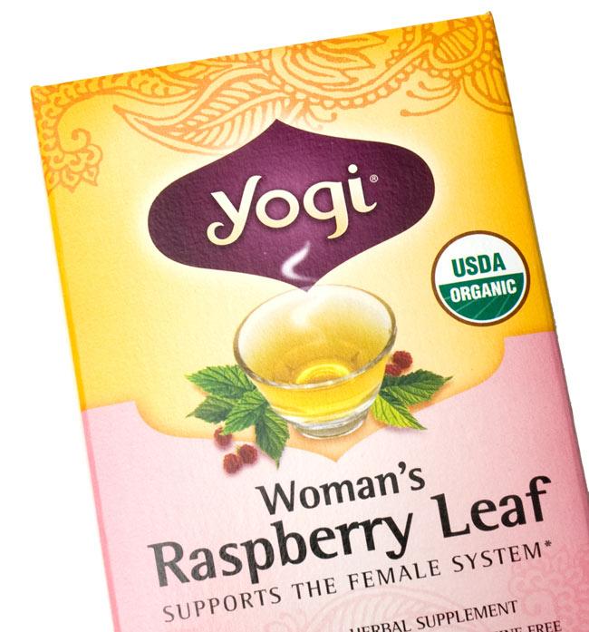 ウーマンズ・ラスベリーリーフ【Yogi tea ヨギティー】 - パッケージのアップ。目でも癒されます。ヨギティによっては、オーガニックの原材料を使用しています。