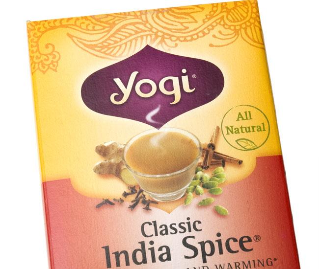 クラシックインドスパイス【Yogi tea ヨギティー】の写真2 - パッケージのアップ。目でも癒されます。ヨギティによっては、オーガニックの原材料を使用しています。