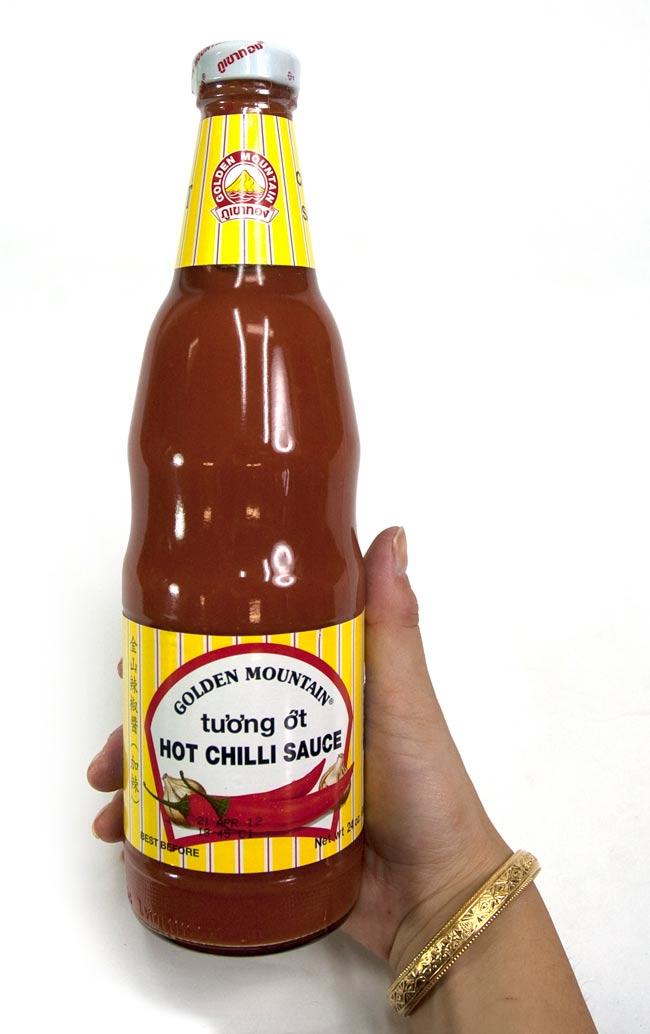 チリ ソース 瓶 Lサイズ ミディアム ホット [680g]の写真2 - 大きさが判るように手に持ってみました