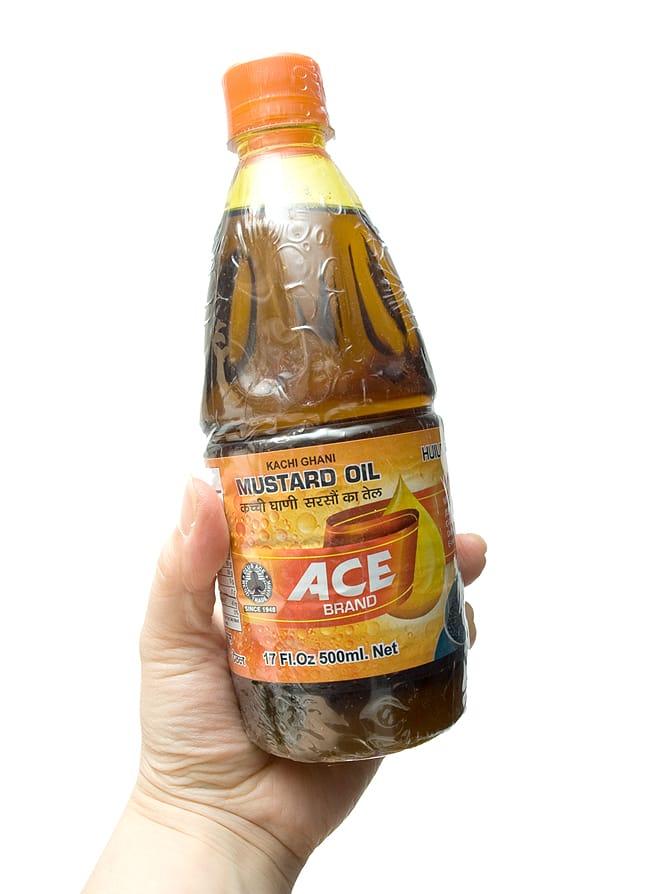 マスタード オイル - Mustard Oil  500ml 【ACE】 2 - 手に持ってみました。使いやすい大きさです。