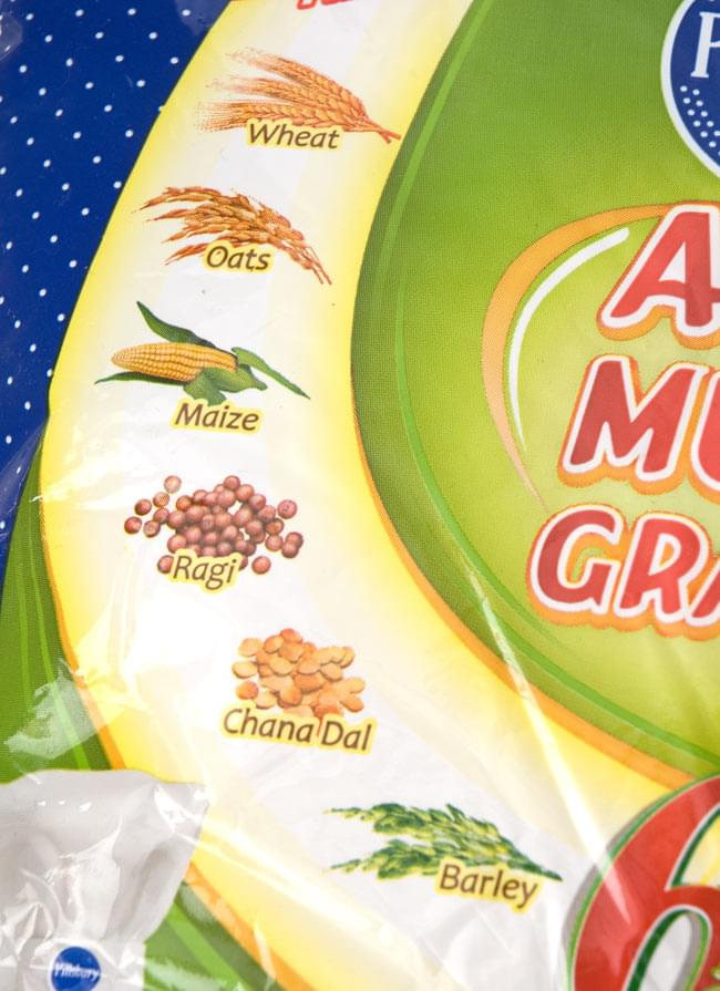 雑穀入り アタ粉 ATTA MULTI GRAINS 【1Kg】の写真2 - 小麦、オーツ麦、トウモロコシ、稗(ヒエ)、ひよこ豆、大麦の6種類の雑穀を混ぜて粉にしました。