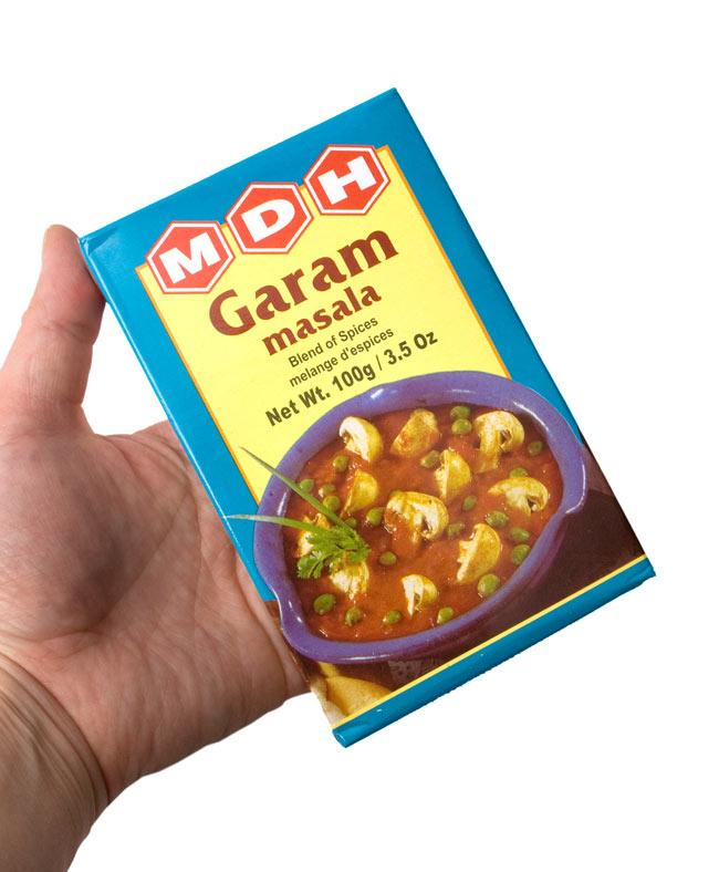 ガラムマサラ スパイス ミックス - 100g 小サイズ 【MDH】 - 手に持ってみました。こちらのパッケージになる場合もございます。