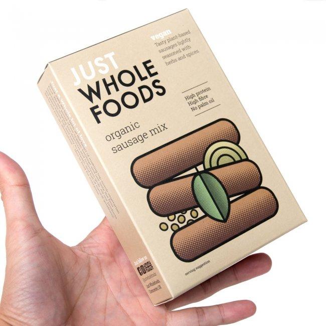 ベジタリアン ソーセージ ミックス 125g オーガニック 黄箱 【Just Wholefoods】 3 - お湯を入れてよくこねて、形を作って焼くだけで、あら、美味しい!!