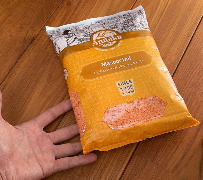 ひら豆(皮なし) - Masoor Dal Red【1kgパック】 5 - サイズ比較のために手と一緒に