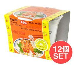 【12個セット】ベトナム・フォー インスタント カップ 【A-One】 ピリ辛エビ味