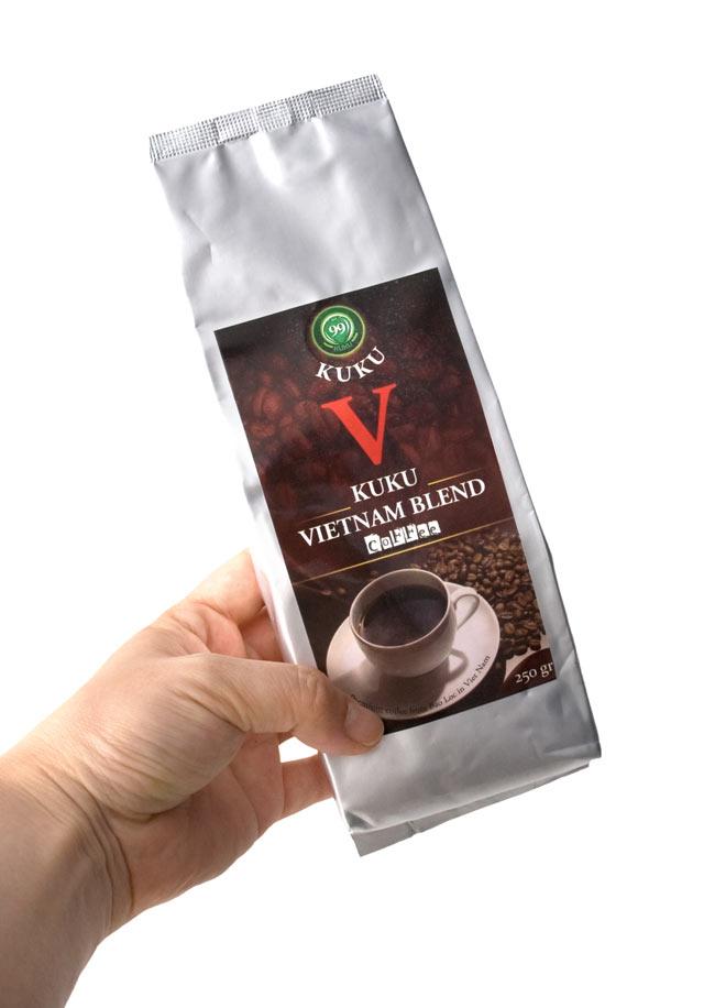 ベトナム コーヒー ベトナムブレンド [250g] 【KUKU】 4 - 手に持ってみました。250gでちょうどいい量です。
