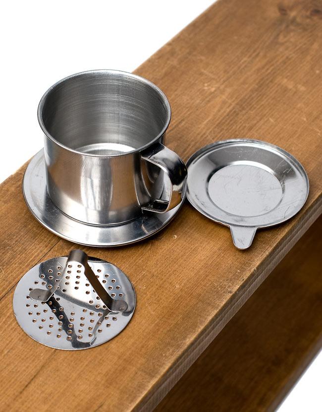 ベトナム コーヒー フィルター 【ステンレス製】 3 - バラしてみました。胴と下皿は一体式です。
