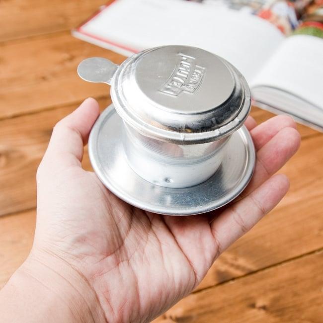ベトナムのアルミコーヒーフィルター【落し蓋付き】 3 - 5.5cm〜9cmのカップに乗せてお使いいただけます。