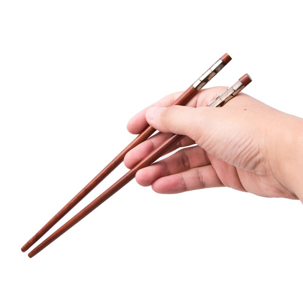アジアの箸[黒蝶貝ミックス] 4 - 日本でも馴染みのあるサイズ感です