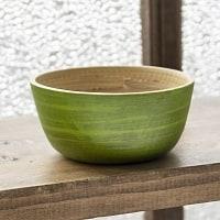 ベトナムの竹食器 - 豆皿 薄緑(直径8cm程度)