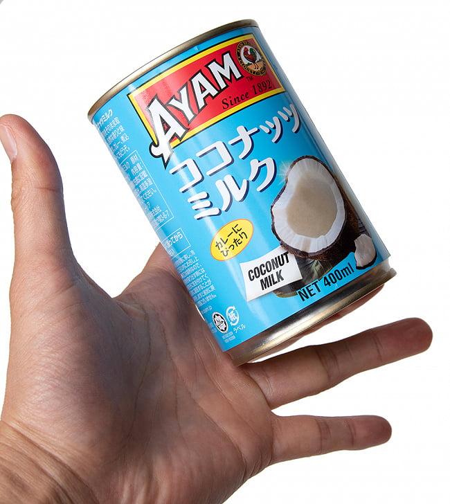 ココナッツミルク 400ml - Coconut Milk 【AYAM】 3 - サイズ比較のために手に持ってみました