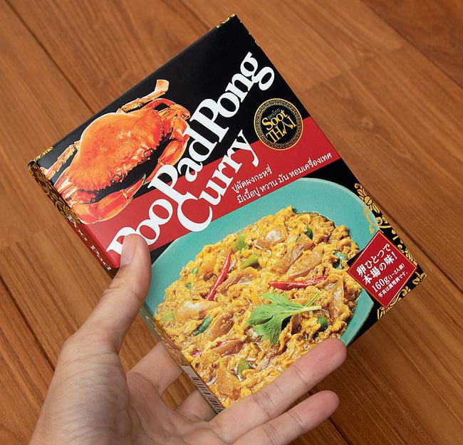 タイの蟹肉入りカレー PooPad Pong Curry - プーパッポンカリー 160g【SootThai】 5 - サイズ比較のために手に持ってみました