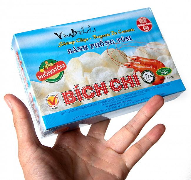 ベトナム 海老せんべい 200g  - シンプル[Bich Chi] 3 - サイズ比較のために手に持ってみました