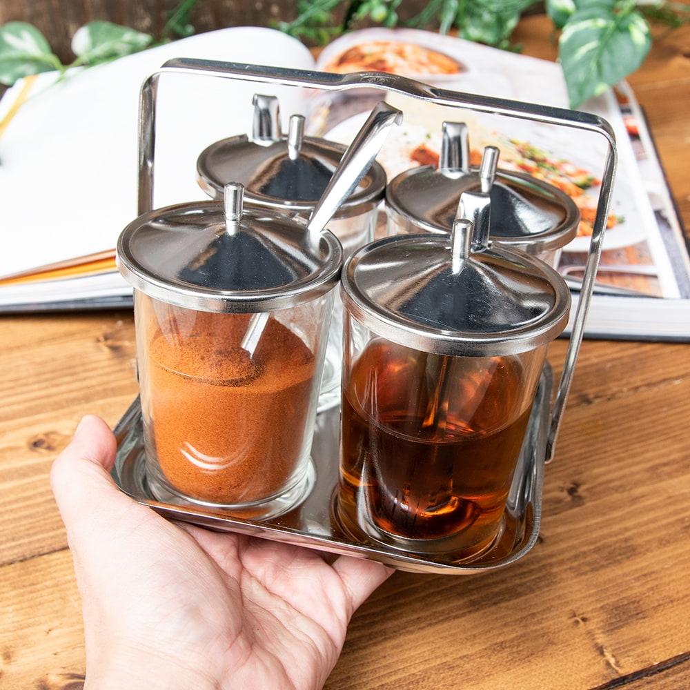 タイの薬味入れ クアングプゥング - ガラスタイプ 8 - テーブルへの持ち運びにとっても便利です。