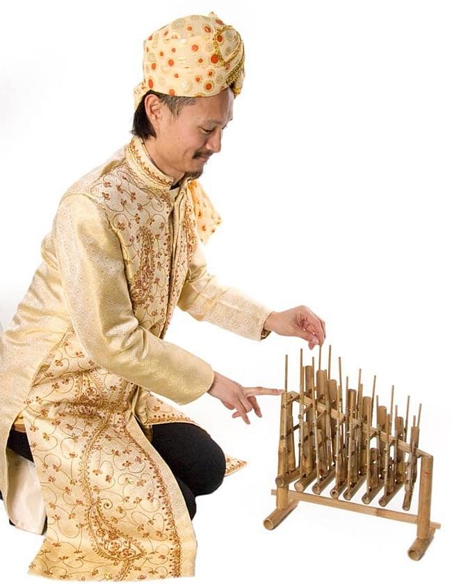 アンクルン(大) 7 - インドパパが演奏してみるとこれくらいの大きさです。
