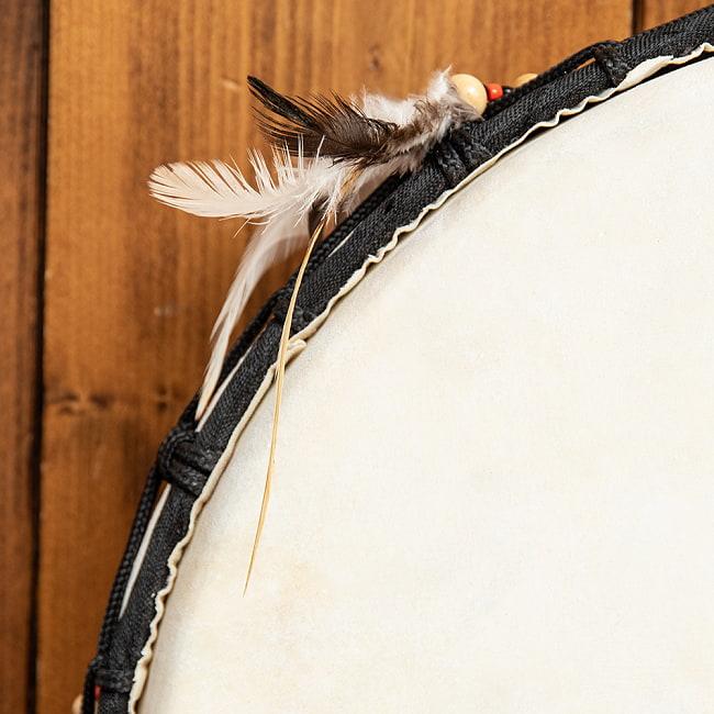 フェザーつきネイティブドラム - rebana 外径41cm程度 2 - 鼓面のアップです。丁寧に作られています