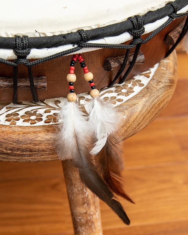 フェザーつきネイティブドラム - rebana 外径41cm程度 4 - 羽飾りがすてきです。