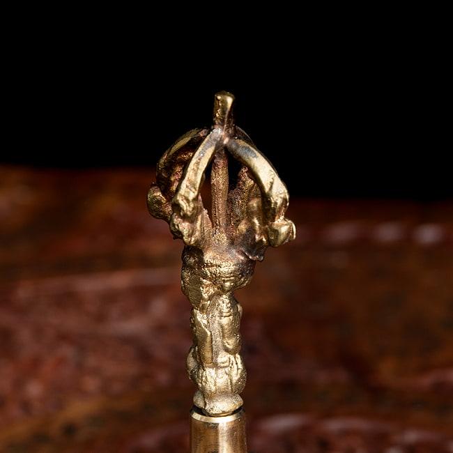 密教法具・金剛鈴(ガンター)と金剛杵(ヴァジュラ)のセット【高さ15cm】 2 - ガンターの写真です