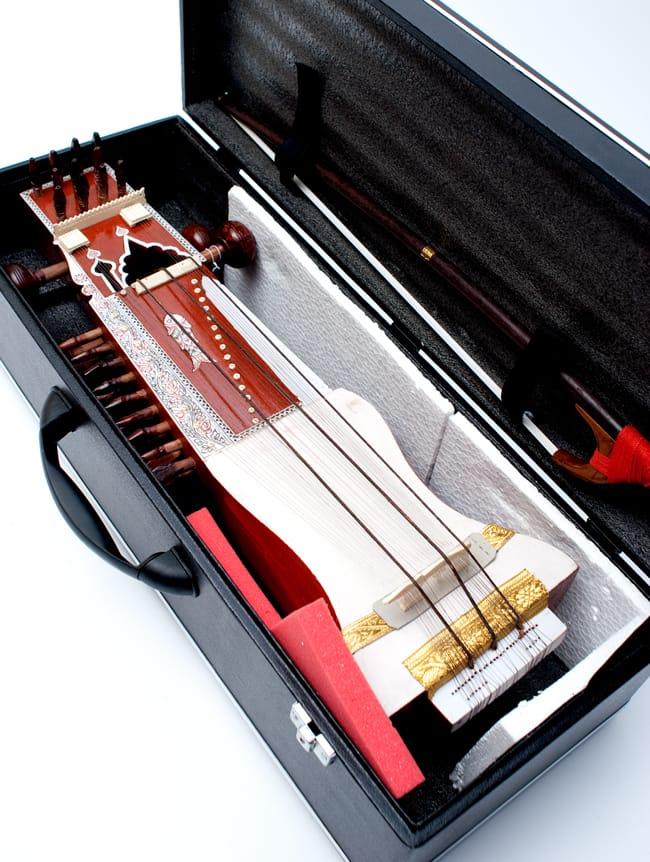 サーランギ Sarangi [ハードケース・交換弦付き] 11 - ケースに入れてみたところです。付属品が入るように余裕をもってつくられています。持ち運びの際は、布や緩衝材で隙間をなくすのをオススメいたします。