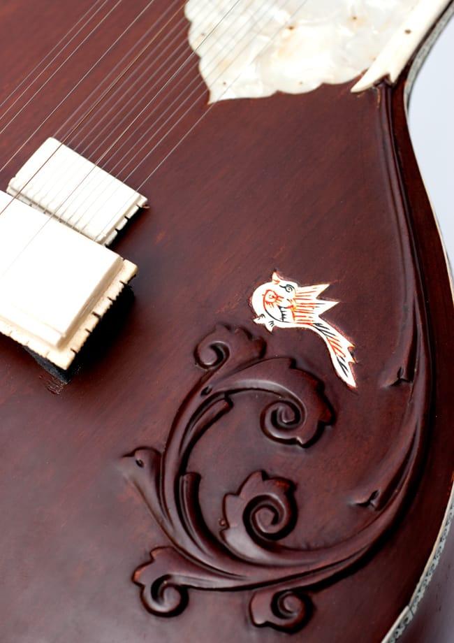 【ちょっとワケありPALOMA社製】高級シタールセット(グラスファイバーケース)ヴィラヤットカーンスタイル 9 - 拡大写真です。マットな質感が魅力的。
