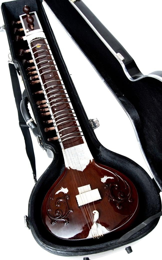 【Kartar Music House社製】シンプルシタールセット(グラスファイバーケース) 13 - 【選択:A】ブラウン系はこちらになります