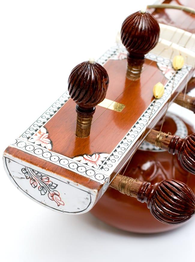 [インド品質]【PALOMA社製】ダブルトゥンバ練習用シタールセット(グラスファイバーケース) 12 - ヘッドを上からみてみました。