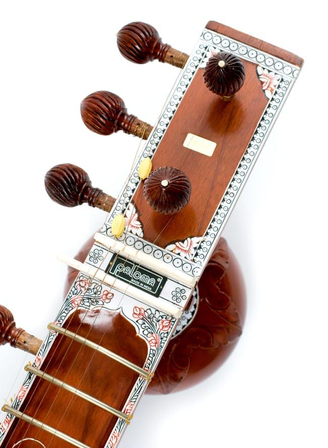 [インド品質]【PALOMA社製】ダブルトゥンバ練習用シタールセット(グラスファイバーケース) 2 - ヘッドの部分にもトゥンバがついています。